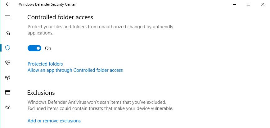 Protection contre les ransomware dans Windows 10