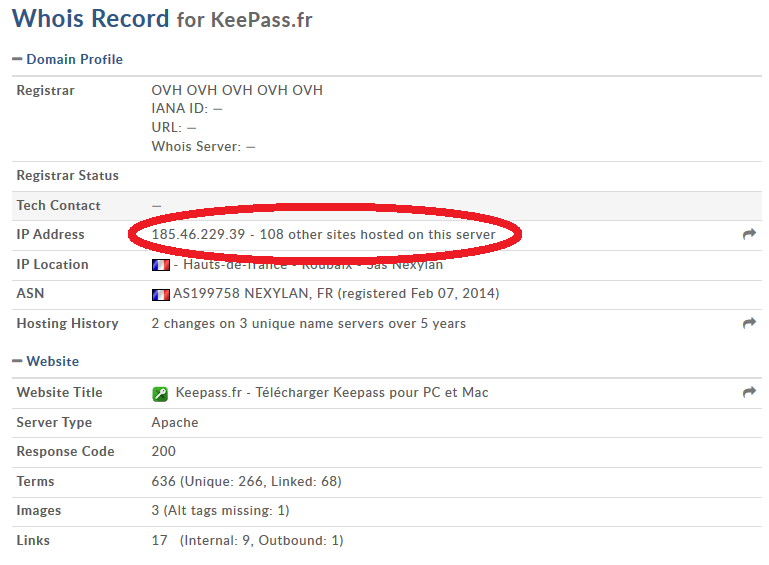 WHOIS Keepass.fr